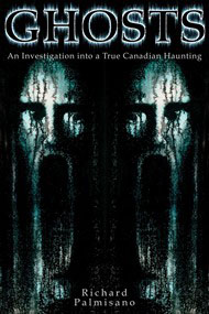 Ghosts book cover, black background picture of two faces with elongated mouths and title Ghosts above them