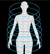 Body shape with dots inside and swirls of blue circling the body representing energy